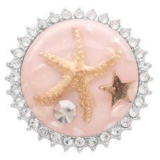 25MM Thick Glossy Surface Round  Starfish Amber snap Silver Plated with Rhinestone KC7965 Pink