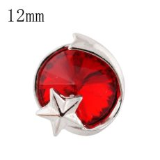 12mm star Small size snaps silver plated with red Rhinestone for chunks jewelry