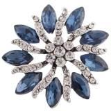 Diseño 20MM de plata chapada con diamantes de imitación azul oscuro KC8933 broches de joyería