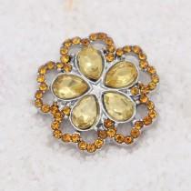 20MM design snap plaqué argent avec strass jaune KC7932 s'encliquette bijoux