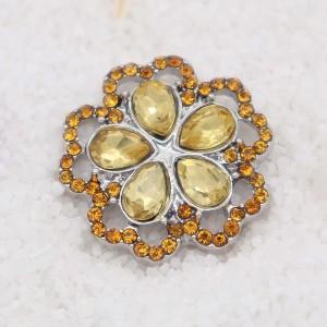 Diseño 20MM chapado en plata con diamantes de imitación amarillos KC7932 broches de joyería