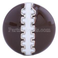 20MM Snap de football plaqué argent avec émail brun KC6082 s'enclenche bijoux