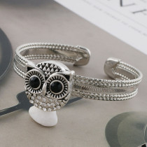 20MM owl snap sliver plated with black rhinestone KC7561 snaps jewelry