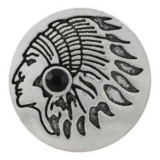 20MM Indianer Snap Versilbert mit schwarzem Strass KC9873 Snap Schmuck