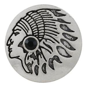 20MM Indian snap Plateado con diamantes de imitación negros KC9873 snap jewelry