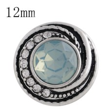 12MM design snap sliver plated with light blue Rhinestone and Enamel KS6268-S interchangeable snaps jewelry