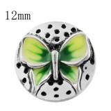 12mm Schmetterling Kleine Druckknöpfe mit grüner Emaille für Schmuckstücke