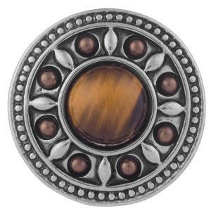 20MM Broche redondo Chapado en plata antigua con piedra natural marrón KB5292 broches de joyería