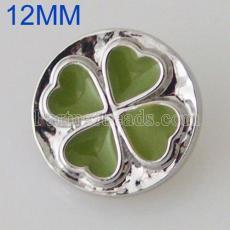 12MM Clover snap plaqué argent avec émail KB5520-S s'encliquette bijoux