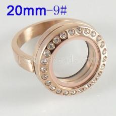 ANILLO de acero inoxidable 9 # tamaño con medallón de encanto flotante Dia 20mm color dorado
