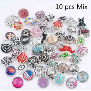 10pcs/lot Mix All kinds of types snap MixMix all styles 20mm Snap buttons MIX style for random