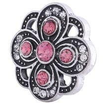 20MM Цветочная оснастка Античное серебро, покрытая розово-красными и прозрачными стразами KC6066 оснастка ювелирные изделия