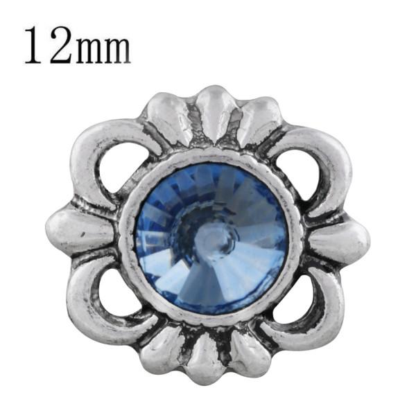 12MM design mousqueton plaqué avec strass bleu KS6302-S s'enclenche bijoux