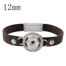 19CM brown leather bracelets with rhinestone KS0666-S fit 12MM snaps chunks