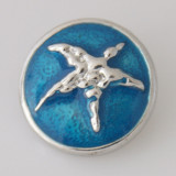 20MM Starfish snap Plateado con esmalte KB6129 azul