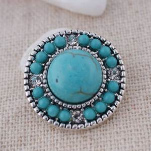 20MM Round snap Silver Plated avec cyan Turquoise stone and Rhinestone KC8667 snaps jewelry