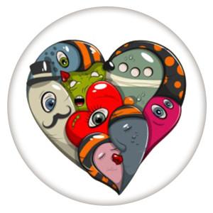 20MM Valentinstag Lackiertes Email Metall C5618 Druck schnappt Schmuck
