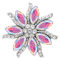 20MM  Flowers snap Silver Plated with  High-quality rhinestone  KC7942 snaps jewelry multicolor