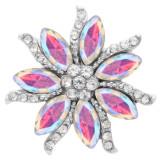 20MM Цветы оснастки посеребренные с высококачественным стразами KC7942 оснастки ювелирные изделия многоцветный