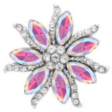20MM Flowers snap Silver Plated with High-quality strass KC7942 snaps jewelry multicolor
