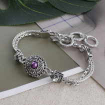 12MM Round snap Antique Silver Plated with purple bead KS5199-S snaps jewelry
