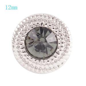 12MM Broche redondo plateado con diamantes de imitación grises KS6035-S broches de joyería