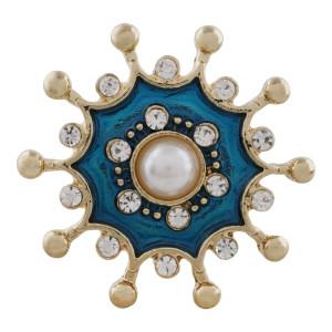 Diseño 20MM chapado en oro chapado con perlas y esmalte KC9865 broches de joyería