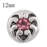12MM love heart snap con rose Rhinestone KS5155-S broches intercambiables joyas