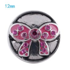 12mm snaps Silver Plated with rose rhinestone KS5046-S snap jewelry