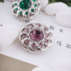 20MM design snap silver Antique plated with purple rhinestone KC5342 snaps jewelry