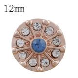 12MM круглая кнопка из розового золота с голубым стразами KS9695-S защелкивается