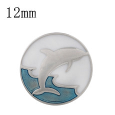 12MM dolphin snap Silver Plated with enamel KS9713-S snap jewelry