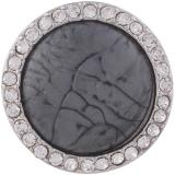 25MM Round snap Antique Silver Plated with gray  rhinestone and resin KB7925 snaps jewelry