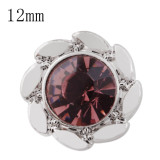 12mm design Small size snaps with purple Rhinestone for chunks jewelry
