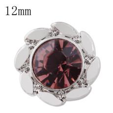 Design 12mm Petite taille s'enclenche avec strass violet pour bijoux en gros morceaux