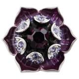 20MM Flower snap plateado con diamantes de imitación púrpura y esmalte KC5525 broches de joyería