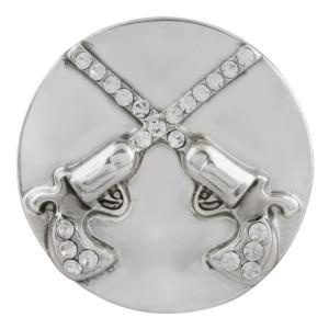 Astilla de escopeta 20MM plateada con diamantes de imitación blancos KC5691 cowboy