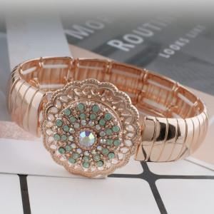 20MM redondo chapado en oro rosa con diamantes de imitación verde KC7599 broches de joyería