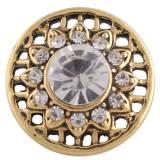 20MM broche redondo Chapado en oro antiguo con diamantes de imitación blancos KC8712 broches de joyería