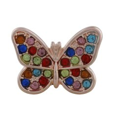 18MM butterfly Rose-Gold Plated with colorful rhinestone KC9772 snaps jewelry