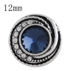 Diseño de 12MM plateado plateado con diamantes de imitación azul oscuro y esmalte KS6269-S joyería de broches intercambiables