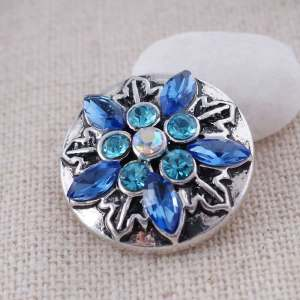 20MM snowflake snap Antique Silver Plated with blue Rhinestone  KC8678