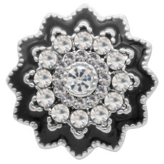 20MM design snap silver Plated with rhinestone KC6939 snaps jewelry black