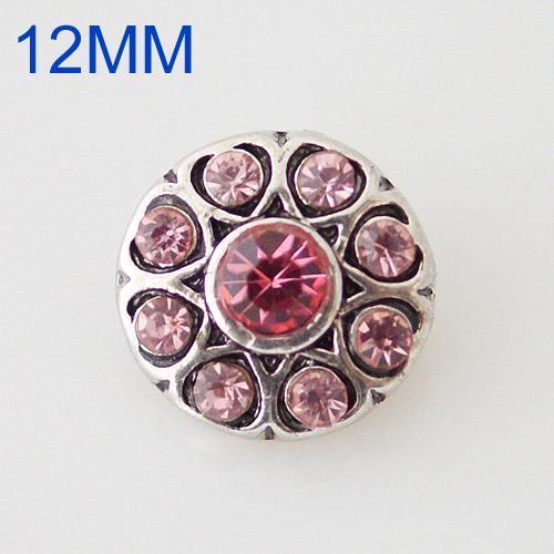 Broches redondos 12mm de plata antigua chapada con diamantes de imitación rosados KB6506-S joyería rápida