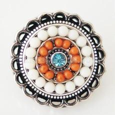 20MM Round snap Antik Silber Überzogen mit Strass und kleinen Perlen KB6397 snaps jewelry