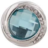 Diseño 20MM chapado en plata chapada con diamantes de imitación azules KC7417 joyería de broches intercambiables