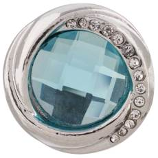 20MM design snap silver plated with blue Rhinestone KC7417 interchangeable snaps jewelry
