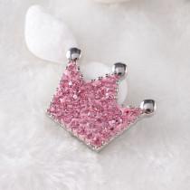 Trozos de moldeo simple con diamantes de imitación de arcilla rosa