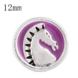 12mm Pferd Klein mit lila Emaille-Druckknöpfen für Schmuckstücke