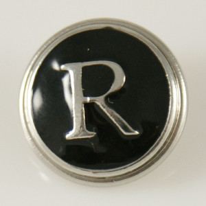 20MM englisches Alphabet-R Druckknopf versilbert KB1268 mit Emaille austauschbaren Druckknöpfen Schmuck